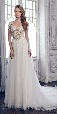 Calla Blanche spring 2017 bridal short sleeves sweetheart neckline heavily embroidered bodice romantic sexy modified a  line wedding dress keyhole back chapel train (17110) mv #wedding #bridal #weddingdress
