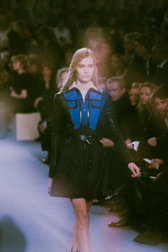 Electric blue and black belted outerwear with a leather trim at Louis Vuitton AW14 PFW. Shot by Lea Colombo. More images here: http://www.dazeddigital.com/fashion/article/19099/1/louis-vuitton-aw14-live-stream