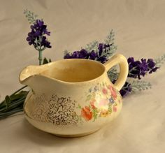 New to ChicMouseVintage on Etsy: Cottage Floral Creamer for Decor - Crazed  Aged Primitive Look or Shabby (20.00 USD)