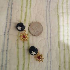 Nautical/ patriotic earrings Fun dangling words underneath ship steering wheel with red star. Pierced Jewelry Earrings