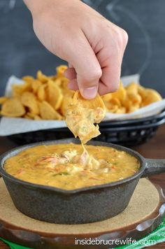 This spicy cheese dip with a fun fajita twist is perfect for snacking on any day!