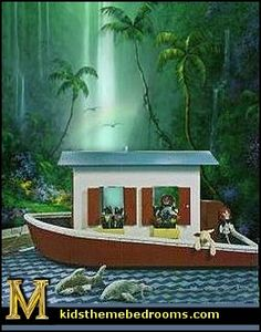 Boat beds for kids bedrooms and playrooms - Fun animal themed furniture for Jungle themed bedrooms, rain forest themed bedroom decorating ideas and lots more jungle theme decor  http://themeroomideas.com/jungle/rainforest-decorating-ideas.html