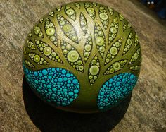Tree of Life Stone / Painted Rock / OOAK Art Rock /Leslie Peery / Mitsel8