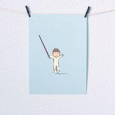 Baby Boy Star Wars Nursery Art Jedi with red lightsaber Illustration Digital Print 5x7 sky blue. $12.00, via Etsy.