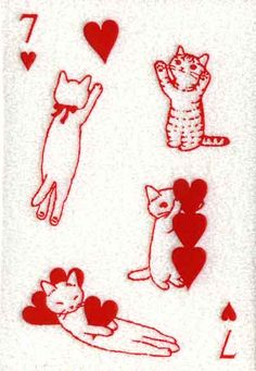 ♥♥♥ Japanese playing card --- Seven of Hearts ♥ (Must love cats)