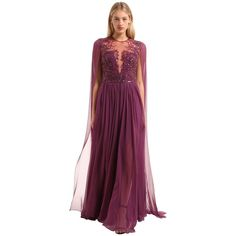 Zuhair Murad Women Embellished Silk Chiffon Gown (€4.220) ❤ liked on Polyvore featuring dresses, gowns, purple, beaded evening dress, beaded gowns, purple evening dress, sequin gown and purple gown