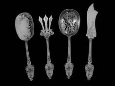 Labat French All Sterling Silver Dessert Hors D'oeuvre Set Box Neoclassical 2