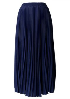 Navy Blue Pleated Maxi Skirt #Chicwish