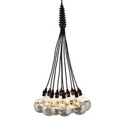 "Loft Chandelier   $299 For hip, contemporary style, our sensational Loft chandelier delivers. A collection of light bulbs on cords morphs into modern when the cords are of thick black webbing, the sockets ultra industrial, and the oversized bare bulbs half metallic. The ten cords are gathered at the top with ribbed matte black rubber tubing where the fixture is hardwired, 10 plus 2 extra E26 G80 bulbs are included. Measures 19.5"" diameter x 66.25"" high."
