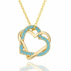 AEKK 18k Gold Plated Crystal Crossed Double Heart Charm Pendant necklace'  Adjustable Ring