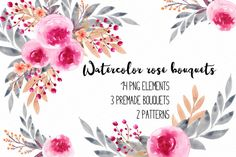 Watercolor rose clipart RB-01 by Charushella on @creativemarket