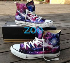 galaxy High top shoes custom galaxy shoes,High-top Painted Canvas Shoes