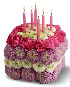 Purple Pink And White Flower Cake With Candles On It Summer Arrangements