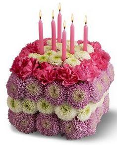 Sqaure fresh flowers birthday cake