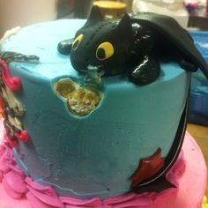 One of many cool cakes.The dragon Toothless, from the movie How to Train your Dragon