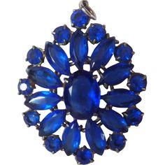 Vintage Sapphire Blue Rhinestone Pendant - found at www.rubylane.com @rubylanecom