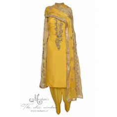 Dazzling sunflower yellow unstitched suit adorn in exquisite embroidery-Mohan's the chic window Punjabi Fashion, Indian Fashion, Pakistani Outfits, Indian Outfits, Ethenic Wear, Yellow Suit, Salwar Suits Party Wear, Indian Party Wear, Salwar Designs