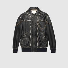 Gucci Studded Leather Jacket In Black Studded Leather Jacket, Black Leather, Gucci, Outerwear Women, Black Knit, Designing Women, Ready To Wear, Jackets For Women, Denim