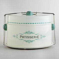 Cost Plus World Market Cream Patisserie Cake Carrier ($25) ❤ liked on Polyvore featuring home, kitchen & dining, white, cost plus world market and cup cake carrier