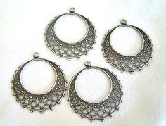 Hoop Drop, filigree hoop, antiqued silver, filigree chandelier, 25mm, 2 each, D279