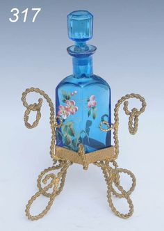 victorian perfume bottles | 317: VICTORIAN ENAMELED PERFUME BOTTLE with gilt stand : Lot 317