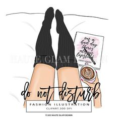 Do Not Disturb Fashion Illustration Clipart Cozy Socks