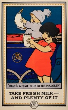 EMB Take Fresh Milk Health Unto His Majesty 1926 - original vintage Empire Marketing Board poster by James Henry Dowd listed on AntikBar.co.uk