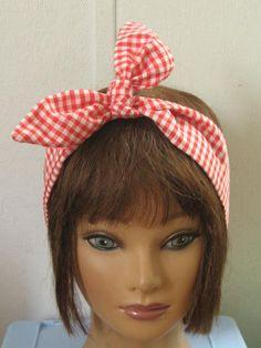 Hair Bandana,  Gingham Headband, Hair Accessory, Red Gingham, Narrow, Pin Up, Hair Bandana, by StitchesByAlida on Etsy