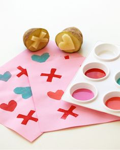 Custom potato stamps are a fun and easy way to spring Valentine's Day cheer.
