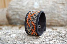 Celtic Knot Bracelet Beaded cuff Bracelet by BeadAndLeatherStudio