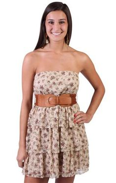 """Tan floral printed all over lace belted tiered skirt               with a strapless peasant style tube bodice, this dress accentuates the shoulders and features a crochet belted waist, triple tiered skirt and all over tan colored floral printed luxe lace design. it showcases a femininity and gracefulness that flatters any figure.       style # 91000038592   33"""" from shoulder to hem approximate length   Machine Wash   Polyester   Domestic"""