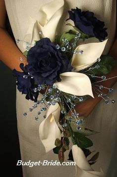 Dark Blue Wedding Flowers- I had yellow roses but these were my official wedding colors. - could use dark blue silk roses and natural white/cream other flowers Blue Wedding Flowers, Wedding Colors, Wedding Bouquets, Navy Flowers, Yellow Roses, Friend Wedding, Our Wedding, Dream Wedding, Lily Wedding
