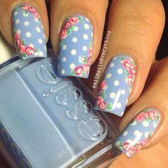 Blue polka dot rose nailart #nailart #nails #summer #pink #floral #rose #blue #polkadot