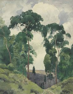thunderstruck9:  Archibald Bertram Webb (Australian, born England, 1887-1944), The Hills. Pencil and watercolour on paper, 65.1 x 50.8 cm.
