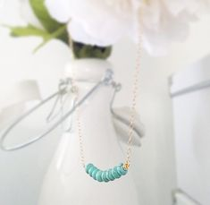 Green Turquoise Magnesite Beaded Necklace  Gold Filled by LucyMint
