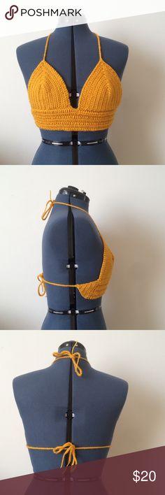 Crochet crop top Mustard yellow crochet crop top | Sold as is | Handmade with love | Best fits S Anthropologie Tops Crop Tops