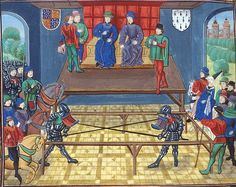 """Jousting in Vannes (Brittany)1381/The 1.Earl of Buckingham (⬆Froissart /Palais Calais Murder of Thomas of Woodstock, 1st Duke of Gloucester, 1st Earl of Essex, Duke of Aumale, KG (*1355+8 or 9 September 1397) and the Duke of Bretagne (John V the Conqueror)4.¼ of the 15th century, before 1483 /British Library, Royal 18 E I f. 139/Chroniques de Jean Froissart/#The Vannes tournament or """"Battle of five English against five French"""" is a tournament held in 1381 in Vannes, capital of the Duchy of…"""