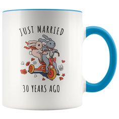 Just Married 30 Years Ago - 30th Wedding Anniversary Gift Accent Mug  #weddinganniversary  #weddinganniversarygift