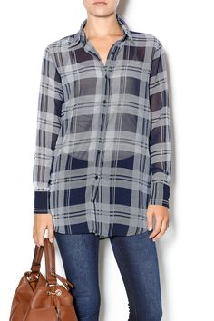 Semi-sheer plaid printed top with a button down front.Hand wash cold. Style this top wih black distressed boyfriend jeans and booties.   Katrina Oil Top by BB Dakota. Clothing - Tops - Long Sleeve Clothing - Tops - Blouses & Shirts Manhattan, New York City