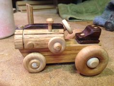 Wooden Toy Farm Tractor is Handcrafted for Children & Adults w/ Eco Friendly All Natural Beeswax Finish