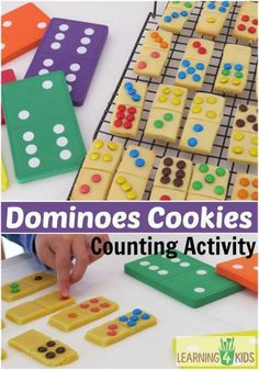 Making Dominoes Cookies with your child will open the opportunity to learn to count, read and name small collections of groups (subitising) and introduce the concept of addition. Plus all the learning opportunities that comes with cooking with kids!