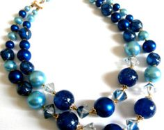 Signed Japan Double Strand Necklace Blue Clear Teal