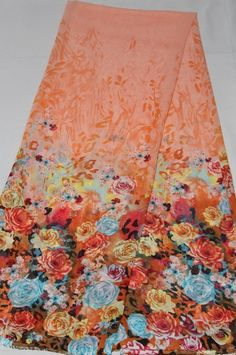 Stoffe gemustert - Chiffon Stoff Tüll Blumendesign CH20A-3 - ein Designerstück von stoff-borte bei DaWanda