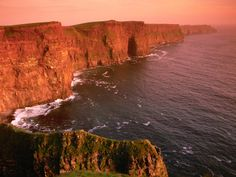 The Cliffs of Moher are one of Ireland's top visitor attraction. They rise 390 feet above the Atlantic Ocean at Hag's Head, and increase to 702 ft. just north of O'Brien's Tower. The cliffs host approximately 30,000 birds, representing more than 20 species.