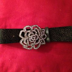 "Host Pick Brown distressed leather belt Brown leather belt with pink rhinestone flower buckle. 42"" total. 35"" to first hole, 39 to last. Accessories Belts"