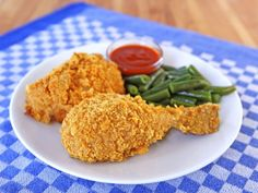 Oven Fried Crispy Cornflake Chicken - Healthy Unfried Chicken Recipe