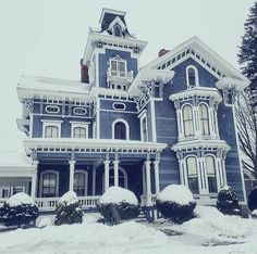 Blue Victorian house with white trim. - Dress models - , Architecture Best Picture For classic home decor Best Picture For Cultural Architecture photography For Your TasteYou are looking for something Cultural Architecture, Victorian Style Homes, Victorian Gothic, Victorian Homes Exterior, Old Victorian Houses, Classic Home Decor, Classic House, Victorian Architecture, House Architecture