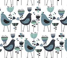 chirpy chirp tweet white fabric by amel24 on Spoonflower - custom fabric