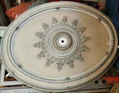 Large Oval Antique Gray Ceiling Medallion - World of Decor Grey Ceiling, Ceiling Medallions, Custom Homes, Decorative Plates, Gray, Antiques, Home Decor, Products, Antiquities