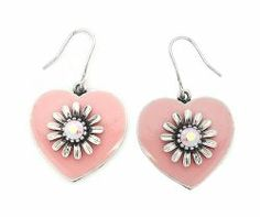 Striking Pink Hearts with detailed sunflower topped off with a sparkly diamante in the middle. Heart Jewelry, Heart Earrings, Drop Earrings, We Love Heart, All Fashion, Fashion Ideas, Handmade Jewelry, Pink Hearts, Sunflowers
